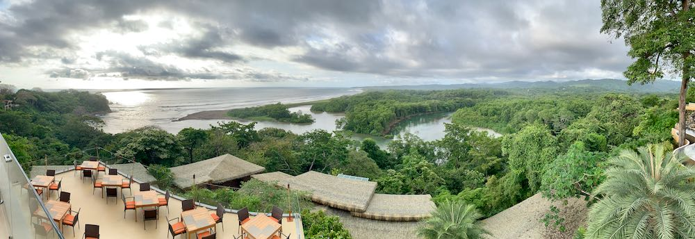 Lagarta Lodge view of the jungle and beach in Playa Guiones